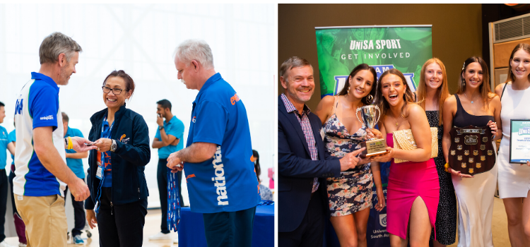 Peter Rowe with Women's volleyball team, and accepting medal at UniSport Australia Nationals in 2019